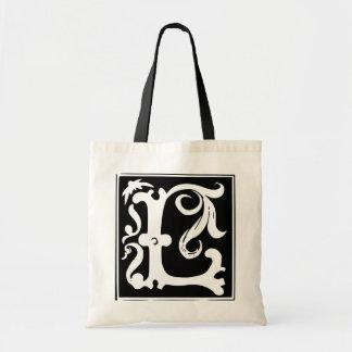 Vieja letra L la bolsa de asas de la caligrafía de
