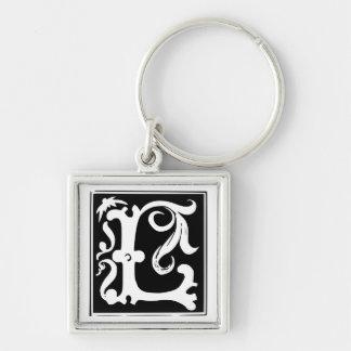 Vieja letra L llavero de la caligrafía del monogra