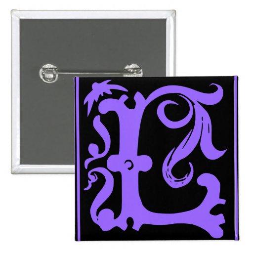 Vieja letra L Pin cuadrado de la caligrafía del bo Pin Cuadrada 5 Cm