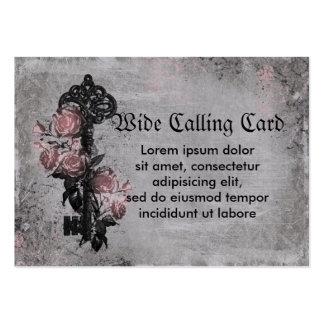 Vieja llave y rosas tarjetas de visita grandes