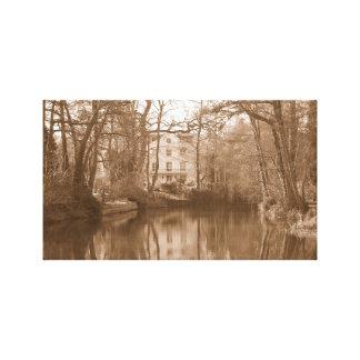 Vieja lona de la foto del molino de agua lienzo envuelto para galerías