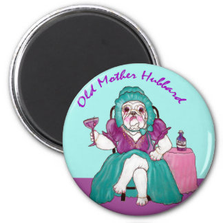Vieja madre Hubbard del dogo Imanes Para Frigoríficos