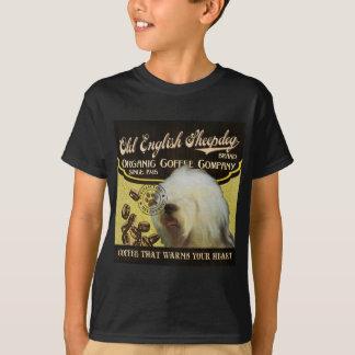 Vieja marca inglesa del perro pastor - café camisas