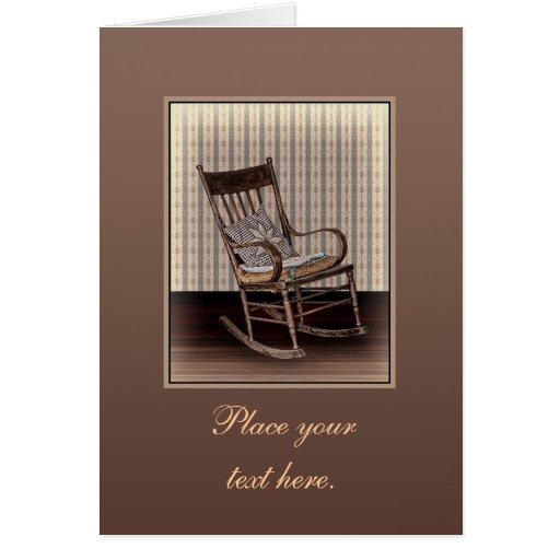 Vieja mecedora vacía del vintage tarjeta