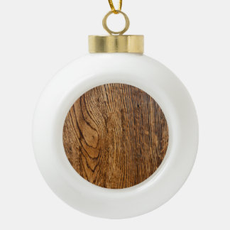 Vieja mirada de madera del grano adorno de cerámica en forma de bola