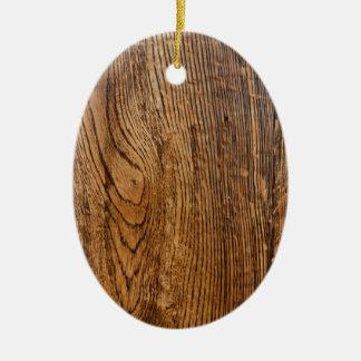 Vieja mirada de madera del grano adorno ovalado de cerámica