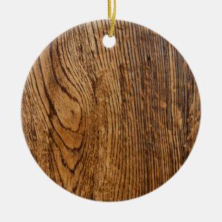 Vieja mirada de madera del grano adorno redondo de cerámica