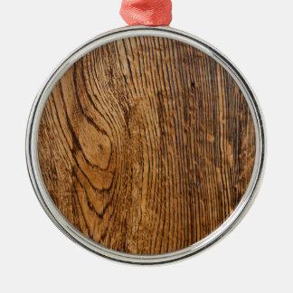 Vieja mirada de madera del grano adorno redondo plateado