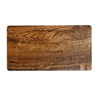 Vieja mirada de madera del grano etiqueta de envío