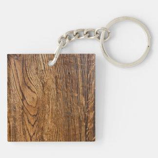 Vieja mirada de madera del grano llavero cuadrado acrílico a doble cara