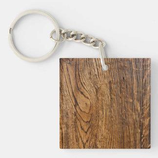 Vieja mirada de madera del grano llavero cuadrado acrílico a una cara