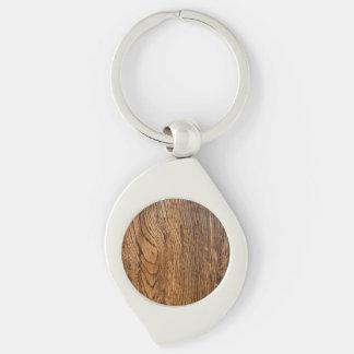 Vieja mirada de madera del grano llavero plateado en forma de espiral
