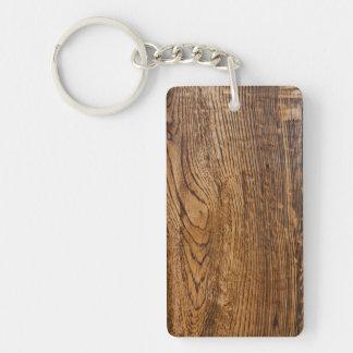 Vieja mirada de madera del grano llavero rectangular acrílico a una cara