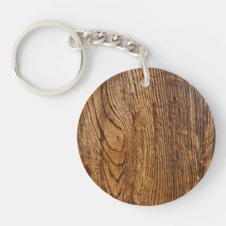 Vieja mirada de madera del grano llavero redondo acrílico a una cara