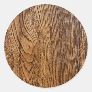 Vieja mirada de madera del grano pegatina redonda
