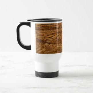 Vieja mirada de madera del grano taza de viaje de acero inoxidable