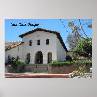 Vieja misión en San Luis Obispo, California Póster