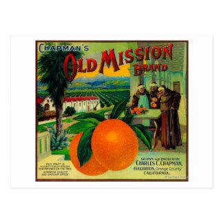 Vieja misión LabelFullerton anaranjado, CA Postal