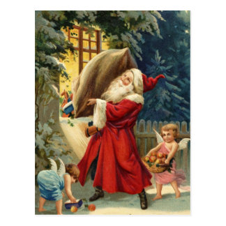 Vieja moda Santa Postal