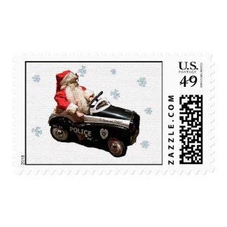 Vieja moda Santa y coche Sellos