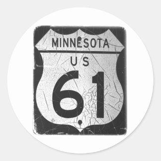 Vieja muestra de la carretera 61 etiquetas redondas