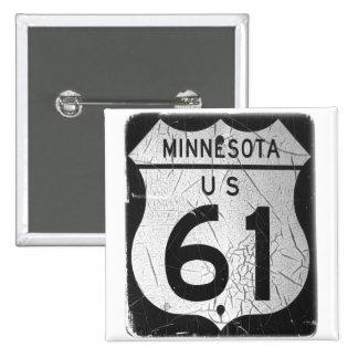 Vieja muestra de la carretera 61 pin cuadrada 5 cm