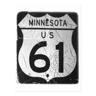Vieja muestra de la carretera 61 postal