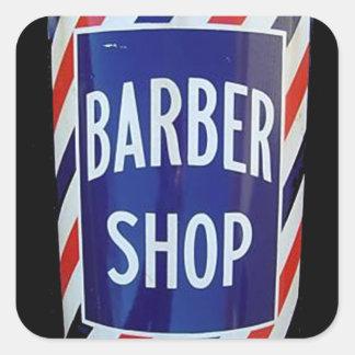 vieja muestra de la peluquería de caballeros pegatina cuadrada