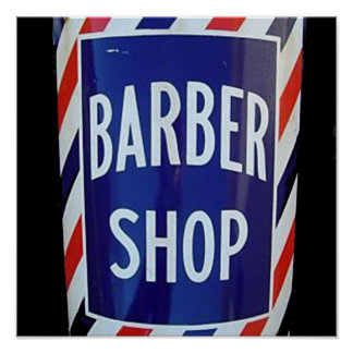 vieja muestra de la peluquería de caballeros póster