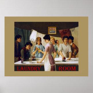 Vieja muestra del lavadero póster