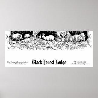 Vieja muestra del negocio del bosque alemán, bávar posters