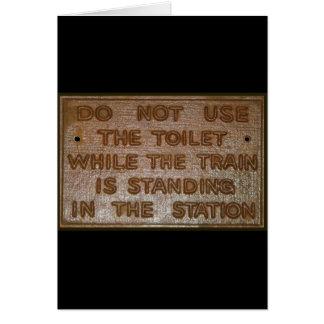 vieja muestra del retrete del tren tarjeta de felicitación