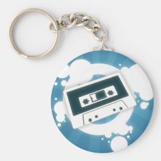 Vieja música CassetteKeychain Llavero Redondo Tipo Pin