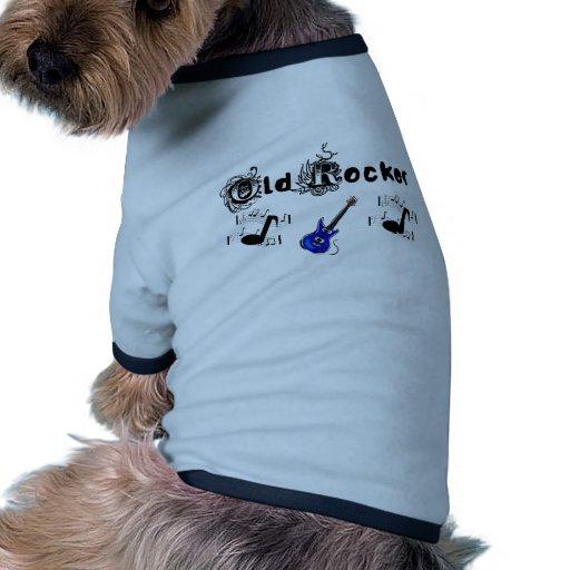 Vieja música del eje de balancín w y guitarra azul camiseta con mangas para perro
