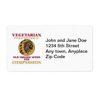 Vieja palabra india vegetariana etiquetas de envío