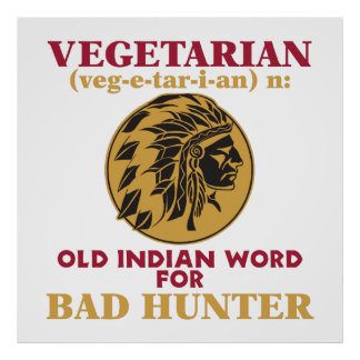 Vieja palabra india vegetariana para el mún cazado póster