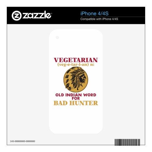 Vieja palabra india vegetariana para el mún cazado skin para el iPhone 4