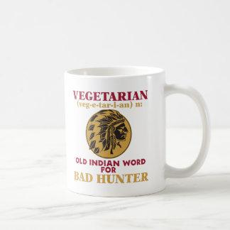Vieja palabra india vegetariana para el mún taza de café
