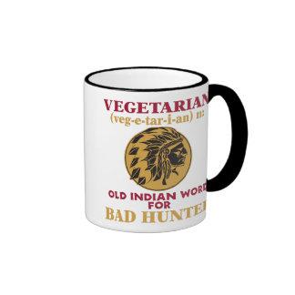 Vieja palabra india vegetariana para el mún taza de dos colores