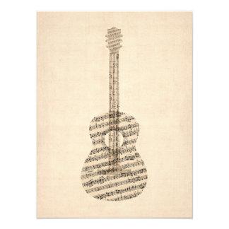 Vieja partitura de la guitarra acústica impresión fotográfica