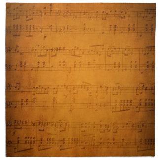 Vieja partitura del vintage servilleta imprimida