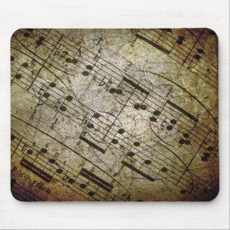 Vieja partitura musical de la hoja, notas de la mú alfombrilla de raton