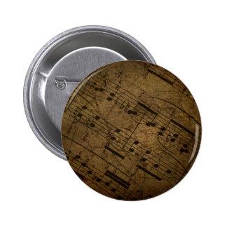 Vieja partitura musical de la hoja, notas de la mú pin redondo de 2 pulgadas