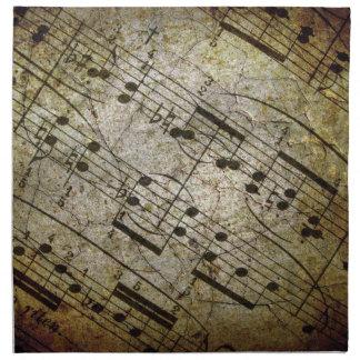 Vieja partitura musical de la hoja, notas de la mú servilletas
