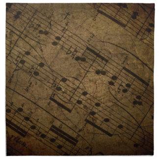 Vieja partitura musical de la hoja, notas de la mú servilleta