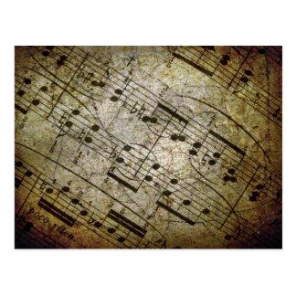 Vieja partitura musical de la hoja, notas de la postales