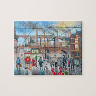 Vieja pintura al óleo del tren del viaducto de puzzle