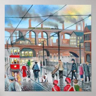 Vieja pintura al óleo del tren del viaducto de Sto Impresiones