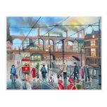 Vieja pintura al óleo del tren del viaducto de postal