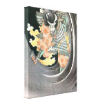 Vieja pintura del samurai impresión en lienzo estirada